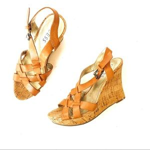 NWOT Guess Galana Leather & Cork Wedge Sandals